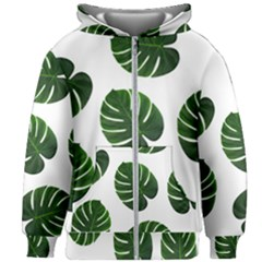 Tropical Imitation Green Leaves Hawaiian Green Kids Zipper Hoodie Without Drawstring