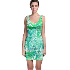 Painting Leafe Green Summer Bodycon Dress
