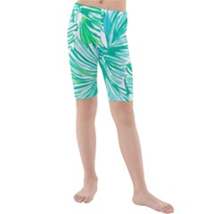 Painting Leafe Green Summer Kids  Mid Length Swim Shorts