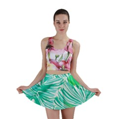 Painting Leafe Green Summer Mini Skirt
