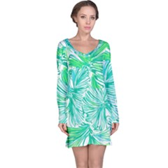 Painting Leafe Green Summer Long Sleeve Nightdress by AnjaniArt