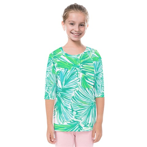 Painting Leafe Green Summer Kids  Quarter Sleeve Raglan Tee by AnjaniArt