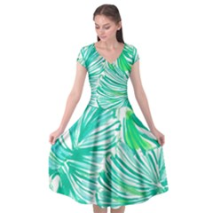 Painting Leafe Green Summer Cap Sleeve Wrap Front Dress