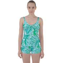 Painting Leafe Green Summer Tie Front Two Piece Tankini