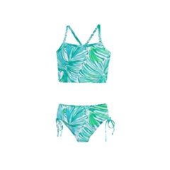 Painting Leafe Green Summer Girls  Tankini Swimsuit