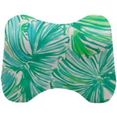 Painting Leafe Green Summer Head Support Cushion by AnjaniArt