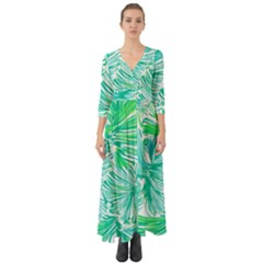 Painting Leafe Green Summer Button Up Boho Maxi Dress by AnjaniArt