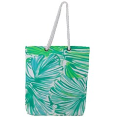 Painting Leafe Green Summer Full Print Rope Handle Tote (large)