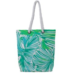 Painting Leafe Green Summer Full Print Rope Handle Tote (small) by AnjaniArt