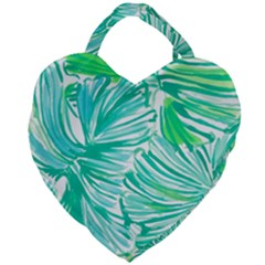 Painting Leafe Green Summer Giant Heart Shaped Tote by AnjaniArt