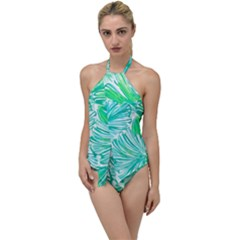 Painting Leafe Green Summer Go With The Flow One Piece Swimsuit
