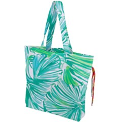 Painting Leafe Green Summer Drawstring Tote Bag by AnjaniArt
