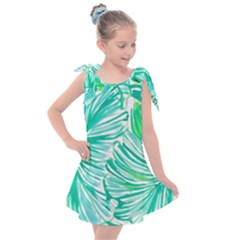 Painting Leafe Green Summer Kids  Tie Up Tunic Dress
