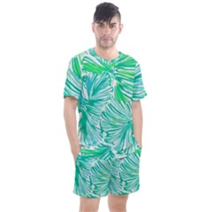 Painting Leafe Green Summer Men s Mesh Tee And Shorts Set