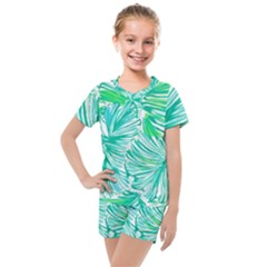 Painting Leafe Green Summer Kids  Mesh Tee And Shorts Set
