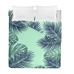Tropical Leaves Green Leaf Duvet Cover Double Side (full/ Double Size) by AnjaniArt