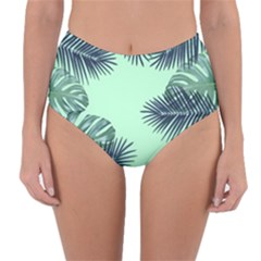 Tropical Leaves Green Leaf Reversible High Waist Bikini Bottoms