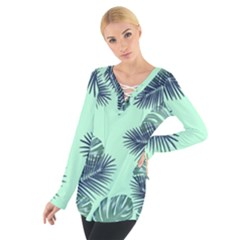 Tropical Leaves Green Leaf Tie Up Tee