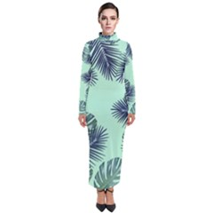 Tropical Leaves Green Leaf Turtleneck Maxi Dress