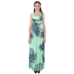 Tropical Leaves Green Leaf Empire Waist Maxi Dress
