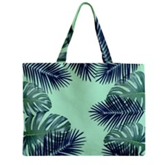 Tropical Leaves Green Leaf Medium Tote Bag by AnjaniArt
