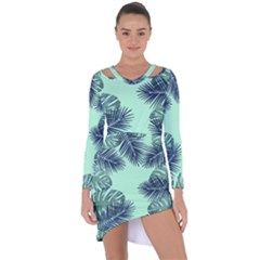 Tropical Leaves Green Leaf Asymmetric Cut Out Shift Dress