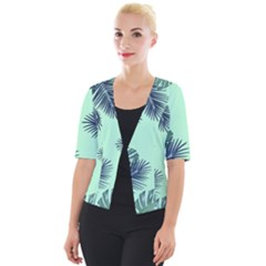 Tropical Leaves Green Leaf Cropped Button Cardigan