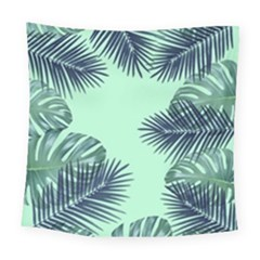 Tropical Leaves Green Leaf Square Tapestry (large)