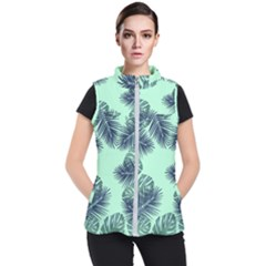 Tropical Leaves Green Leaf Women s Puffer Vest