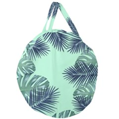 Tropical Leaves Green Leaf Giant Round Zipper Tote by AnjaniArt