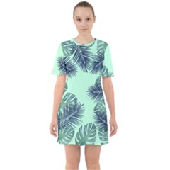 Tropical Leaves Green Leaf Sixties Short Sleeve Mini Dress