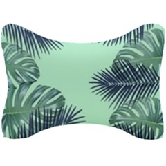Tropical Leaves Green Leaf Seat Head Rest Cushion by AnjaniArt