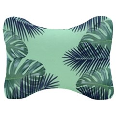 Tropical Leaves Green Leaf Velour Seat Head Rest Cushion by AnjaniArt