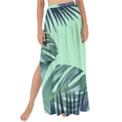 Tropical Leaves Green Leaf Maxi Chiffon Tie Up Sarong