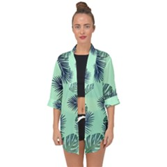 Tropical Leaves Green Leaf Open Front Chiffon Kimono