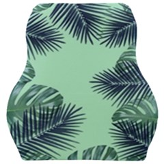 Tropical Leaves Green Leaf Car Seat Velour Cushion  by AnjaniArt