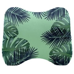 Tropical Leaves Green Leaf Velour Head Support Cushion by AnjaniArt
