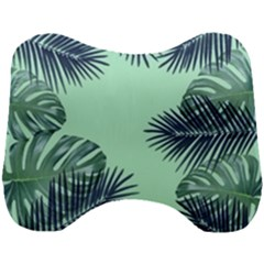 Tropical Leaves Green Leaf Head Support Cushion by AnjaniArt