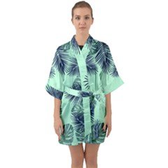 Tropical Leaves Green Leaf Quarter Sleeve Kimono Robe
