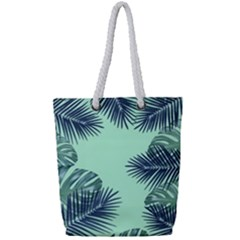 Tropical Leaves Green Leaf Full Print Rope Handle Tote (small) by AnjaniArt