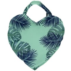 Tropical Leaves Green Leaf Giant Heart Shaped Tote by AnjaniArt