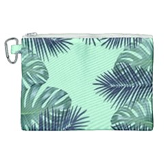 Tropical Leaves Green Leaf Canvas Cosmetic Bag (xl) by AnjaniArt