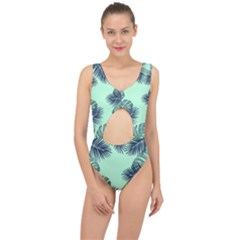 Tropical Leaves Green Leaf Center Cut Out Swimsuit by AnjaniArt