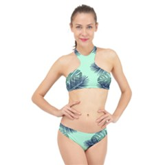 Tropical Leaves Green Leaf High Neck Bikini Set