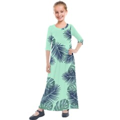Tropical Leaves Green Leaf Kids  Quarter Sleeve Maxi Dress by AnjaniArt