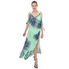 Tropical Leaves Green Leaf Maxi Chiffon Cover Up Dress