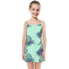 Tropical Leaves Green Leaf Kids Summer Sun Dress by AnjaniArt