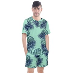 Tropical Leaves Green Leaf Men s Mesh Tee And Shorts Set