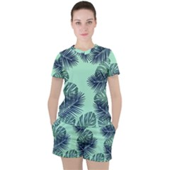 Tropical Leaves Green Leaf Women s Tee And Shorts Set