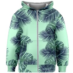Tropical Leaves Green Leaf Kids Zipper Hoodie Without Drawstring